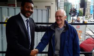 Mentor meeting Mentee. Sir Professor Graham Teasdale and Douglas Okor on 4th September, 2015.