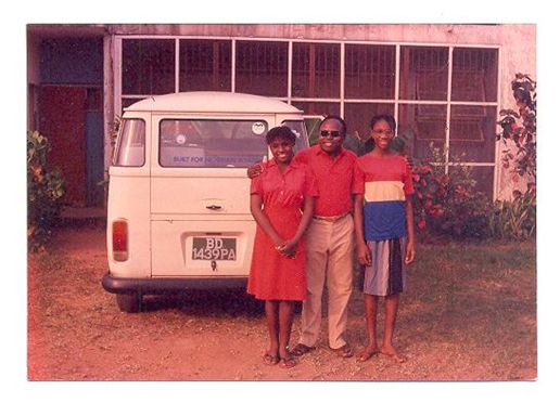 Nneka, on the right at 11years old, with family friends in Benin city.
