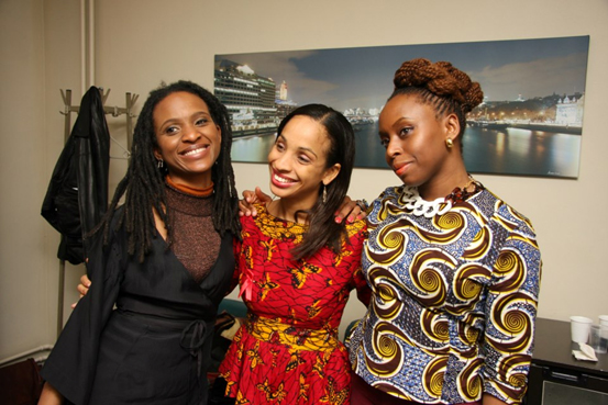 All for one, one for all! Women on the Pan-African Innovation Horizon supporting each other. From left to right, Chika Unigwe, Ndidi Okonkwo Nwuneli and Chimamanda Adichie.