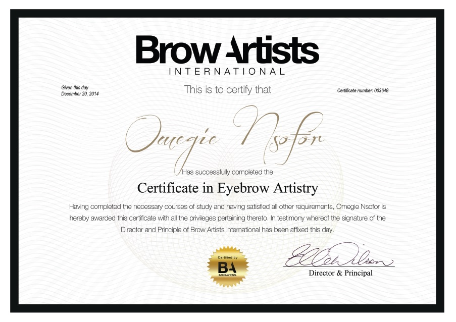 Yazi's Place Brow Artists International Certificate
